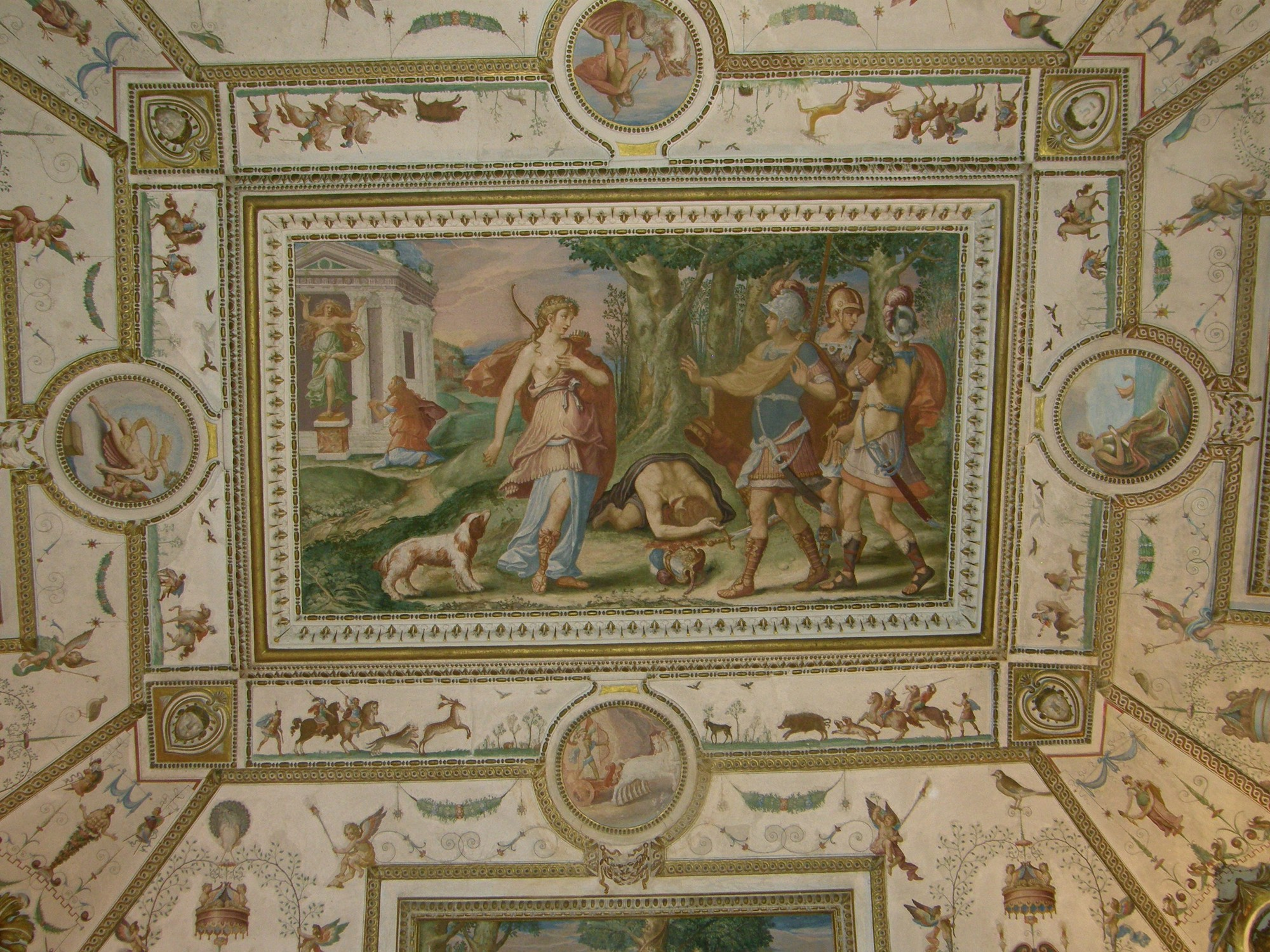 Cincinnato: Detalle de la bóveda de la Sala de Atalanta del Palacio del Infantado. 1578-1580.
