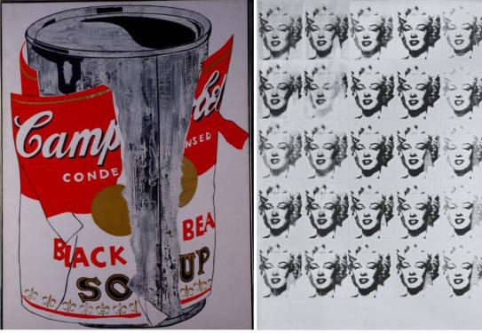 """""""Lata grande de sopa Campbell's rasgada (Black Bean)"""", 1962 y """"Marilyn Monroe en blanco y negro (Veinticinco Marilyns)"""", 1962. Andy Warhol."""