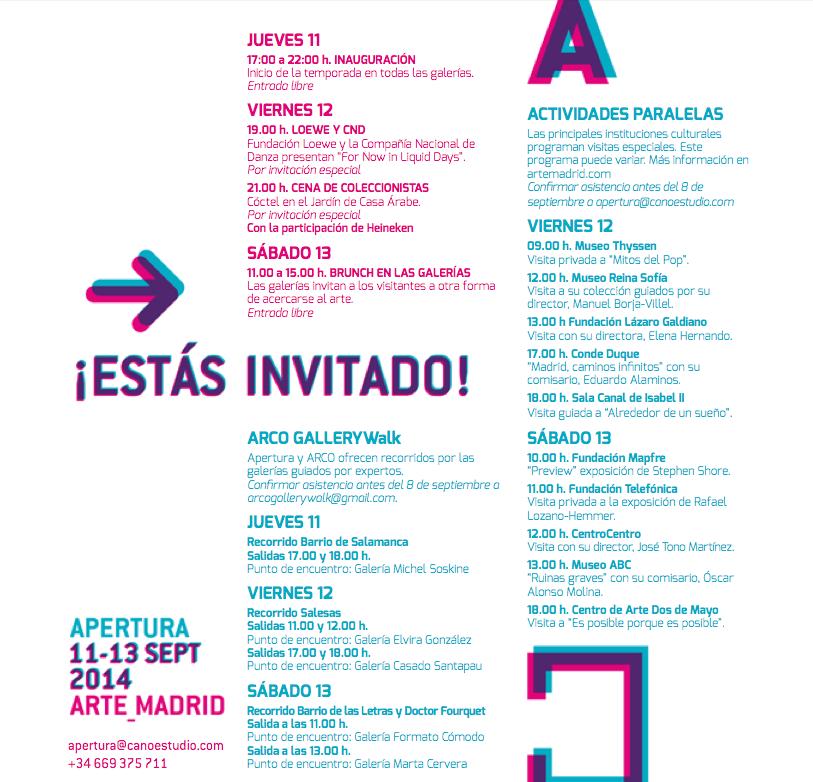 """Programa de """"Apertura"""" entre los días 11 y 13 de septiembre"""