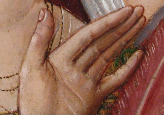 Transparencia de la película pictórica con albayalde