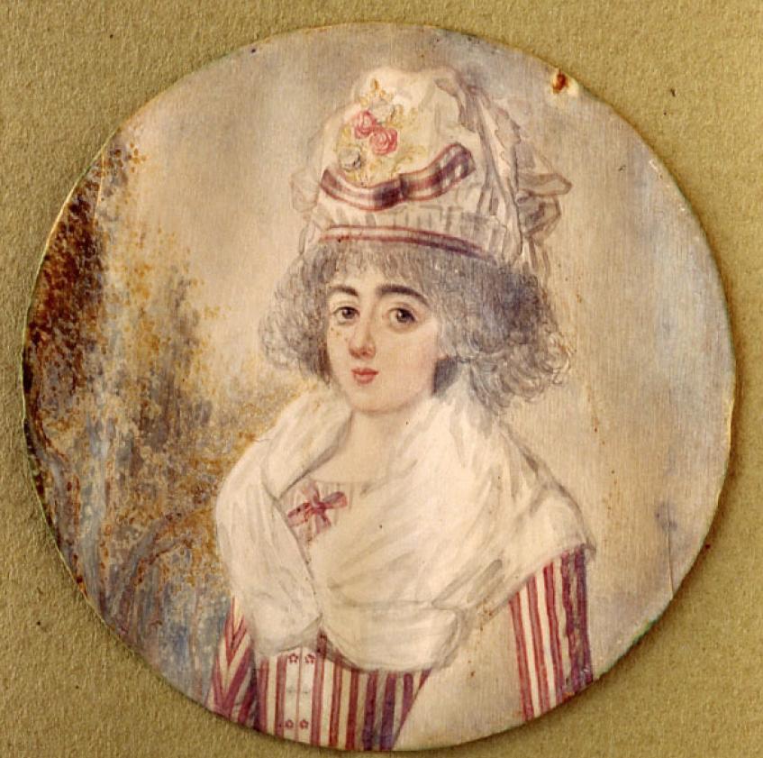 Anónimo: Retrato femenino. Acuarela (pigmento aglutinado con goma arábiga), 1776-1780 Museo Nacional de Artes Decorativas, Madrid.