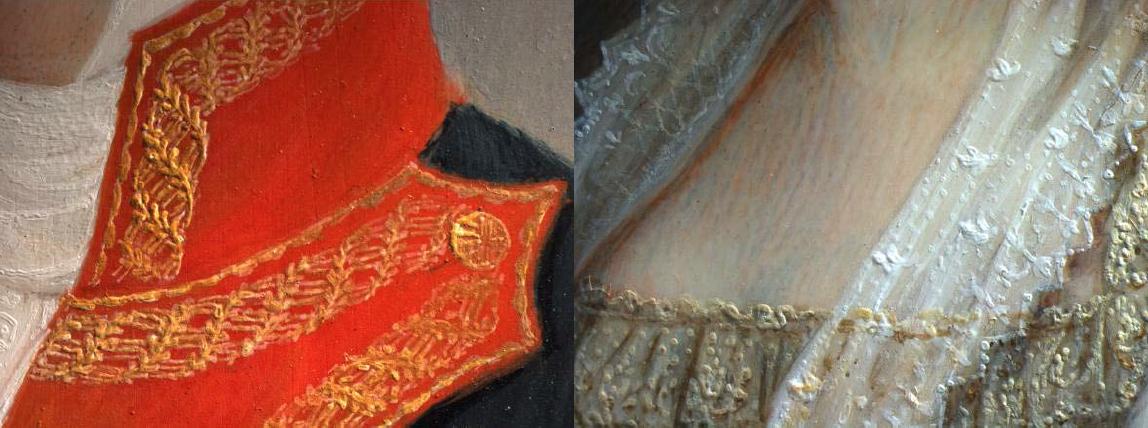 Luis de la Cruz y Ríos: Infanta Luisa Carlota. Detalle de ls telas con bordados y brocados realizados en relieve. Museo Nacional del Prado, Madrid.