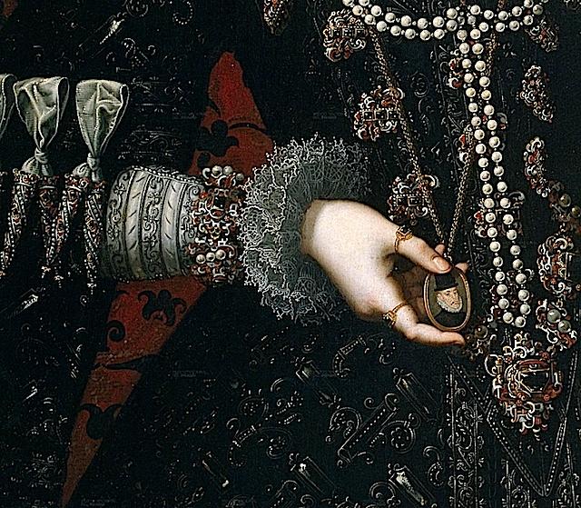Juan Pantoja de la Cruz: Detalle del retrato de Isabel Clara Eugenia. Museo Nacional del Prado, Madrid