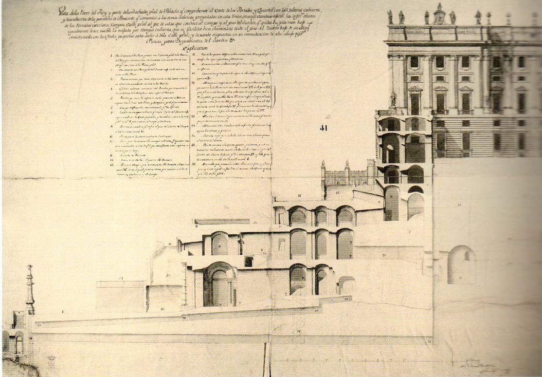 Juan Bautista Sachetti: Construcción de los murallones que sustentan el palacio hacia el Campo del Moro. Archivo General de Palacio, Madrid.