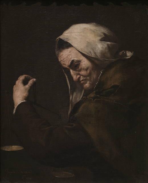 José de Ribera: Vieja Usurera. Museo Nacional del Prado.