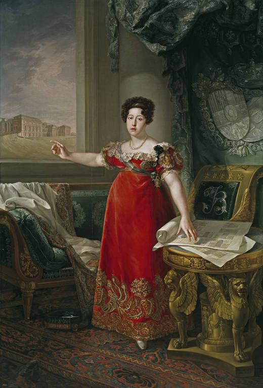 Bernardo López Piquer: María Isabel de Braganza, reina de España, como fundadora del Museo del Prado. Museo Nacional del Prado, Madrid.
