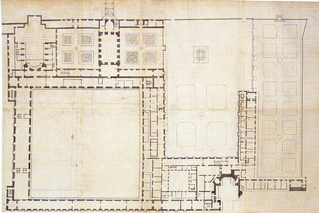 Robert de Cotte: Poryecto para el Antiguo Palacio del Buen Retiro. Planta del piso principal y los jardines, 1712-1713. Biblioteca Nacional de Francia, París.