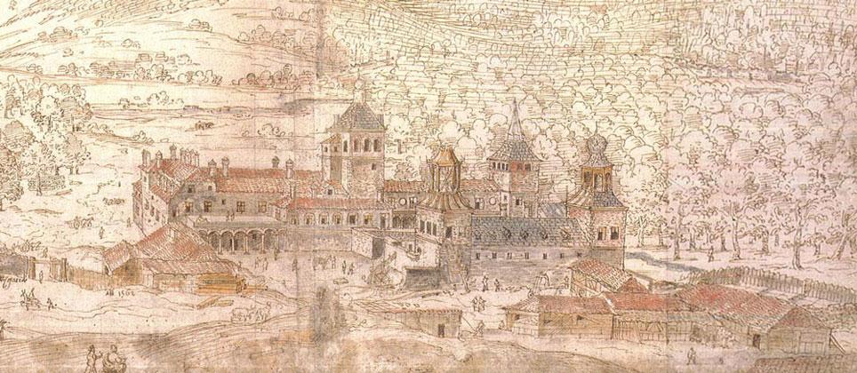 Anton Van der Wyngaerde: Vista del Palacio de Valsaín.