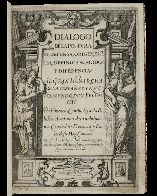 Portada de los Diálogos de la Pintura de Vicente Carducho, editados en Madrid en 1633.