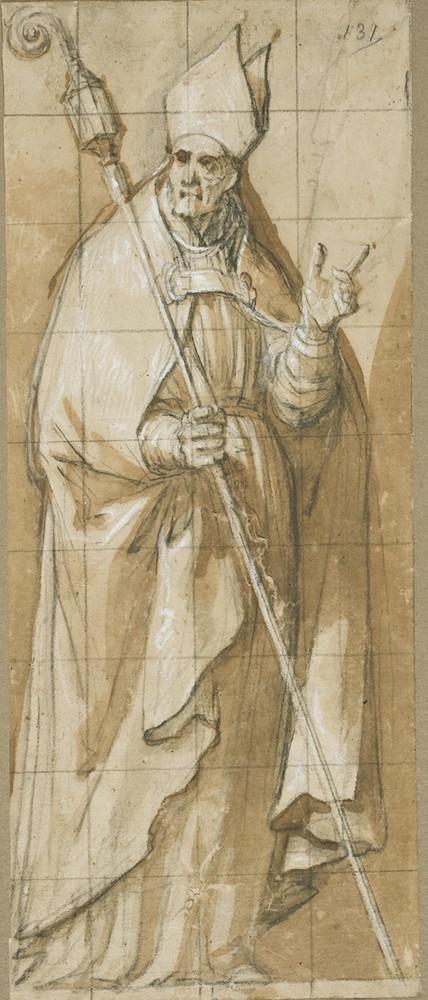 Vicente Carducho: San Agustín de Hipona, ca. 1620-1634. Lápiz negro, aguada de tinta parda y realces de albayalde sobre papel verjurado, 253 x 108 mm. Madrid, Museo Nacional del Prado, D-2108.