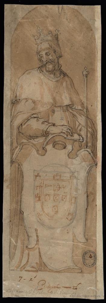 Vicente Carducho: Rey con las armas de Portugal, 1621. Lápiz negro, pluma y aguada de tinta parda sobre papel verjurado, 373 x 130 mm. Madrid, Biblioteca Nacional de España, DIB/13/1/50.