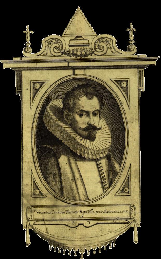 Pedro Perret: Vicente Carducho, 1614. Estampa, talla dulce, 195 x 125 mm. Palacio Real de Madrid, Real Biblioteca, Patrimonio Nacional, GRAB-226(2).