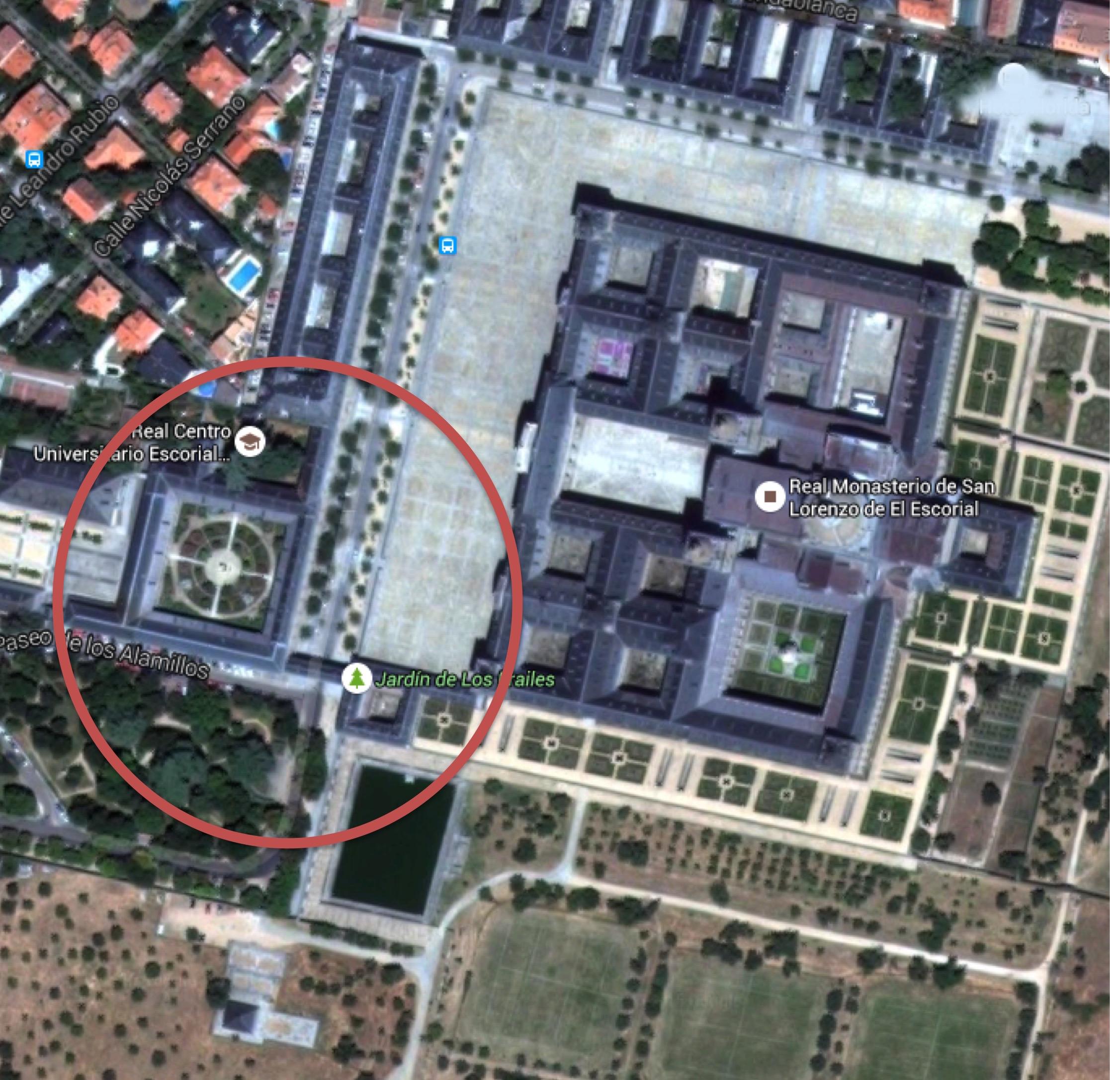 Ubicación de la antigua Casa de la Compaña, Galería de Convalecientes, Botica y pasadizo que une ésta con la Casa de la Compaña.