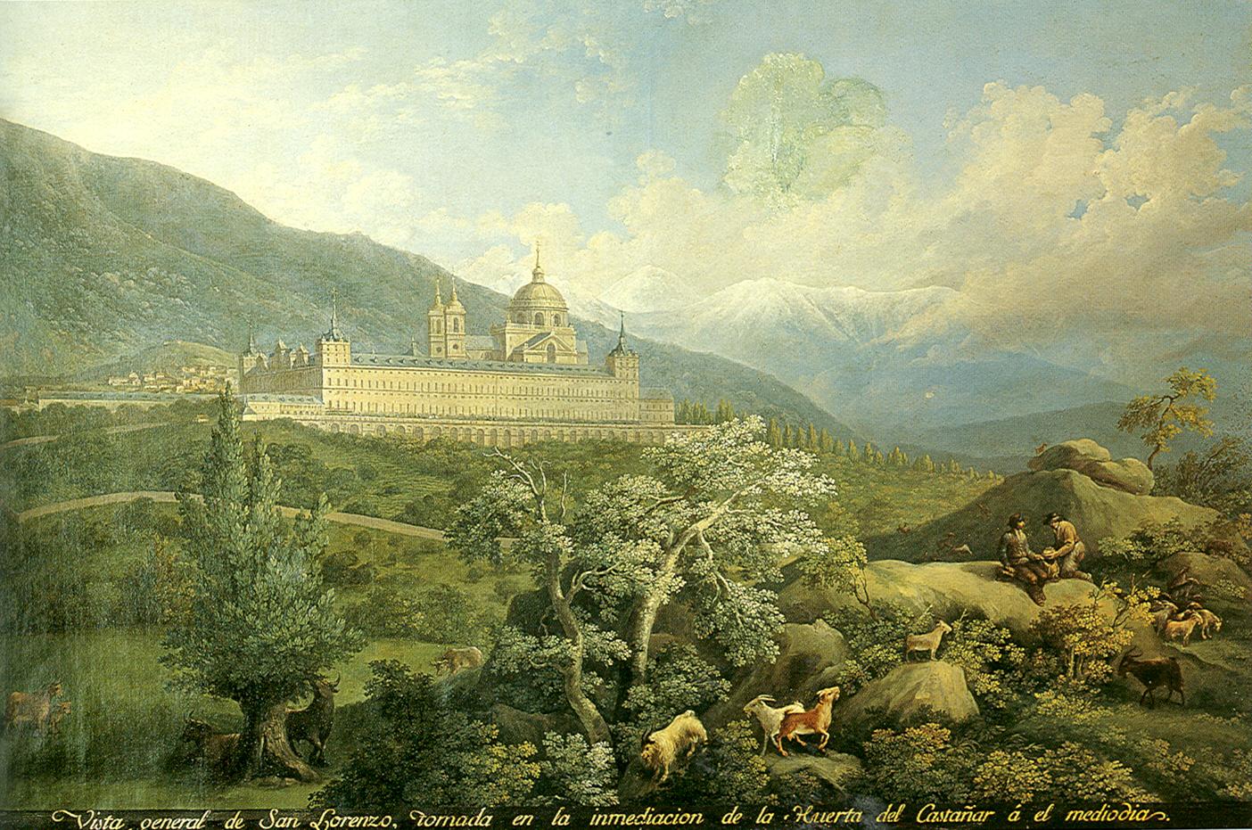 Fernando Brambilla: Vista general de San Lorenzo tomada en la imediación de la Huerta del Castaña a el mediodía. Patrimonio Nacional.