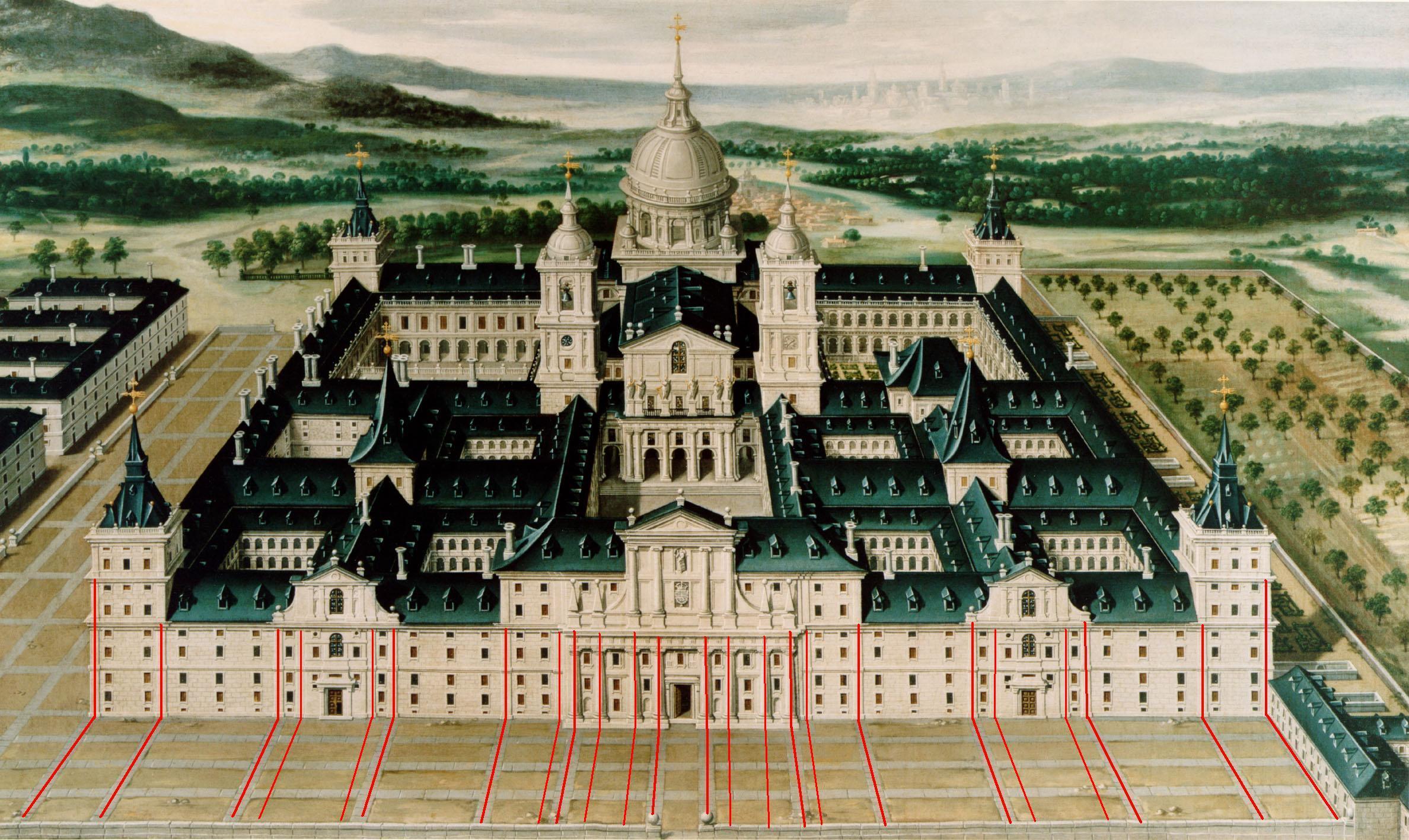 Vista anónima de El Escorial en donde hemos marcado la correspondencia entre las pilastras de la fachada y