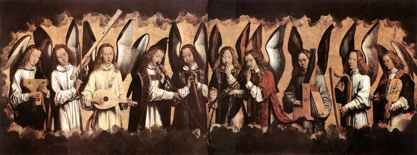 """Hans Memling: Ángeles tocando instrumentos musicales. Las figuras tocan el laúd, el triángulo, la corneta, el arpa, etc. Se pretende representar los cantos celestiales con los que los ángeles alabarían al señor. La música, pues, aparece como un elemento de gran proximidad a la divinidad. Ésta idea ya aparecía expresada por San Agustín, el cual decía: """"no veo que los cristianos puedan hacer cosa mejor, más útil y más santa"""". (Epístola 55, 34-5)."""