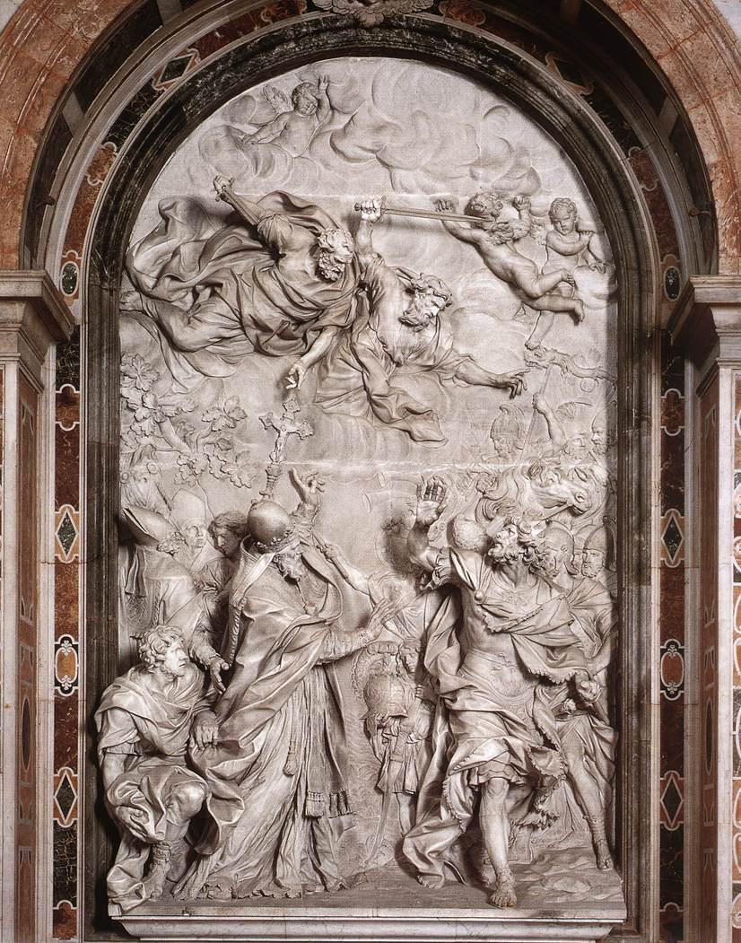 Alessandro Algardi: El papa León X deteniendo a Atila. Roma, Basílica de San Pedro del Vaticano.