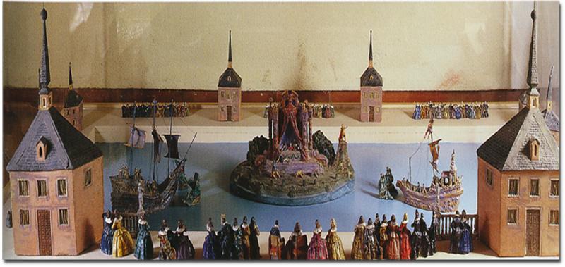 Maqueta en la que se reflejan las naumaquias que tenían lugar en el estanque del Buen Retiro en el siglo XVII.