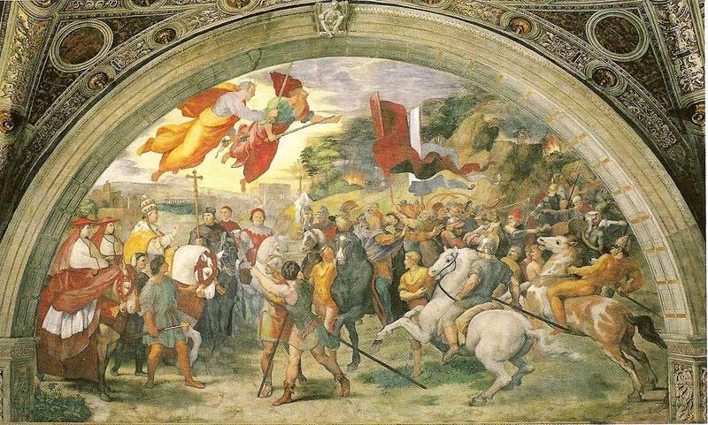 Rafael Sanzio: Atila y León X. Roma, Estancia de Heliodoro, Museo Vaticanos.