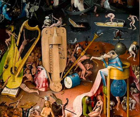 """Jerónimo Bosco: Detalle de """"El Jardín de las delicias"""". Madrid, Museo Nacional del Prado."""