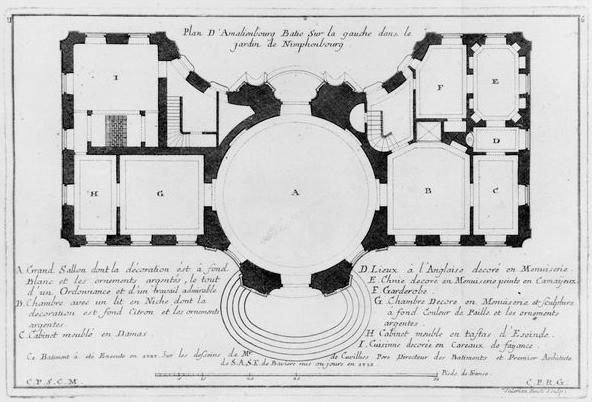 Françoise de Cuvilliés: Planta general del Amalienburg. Canadian Center of Architecture, Montreal.