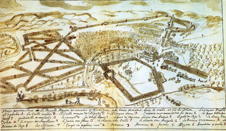 Jean de L'Hermite: Vista del Palacio de Aranjuez y del Jardín de la Isla.