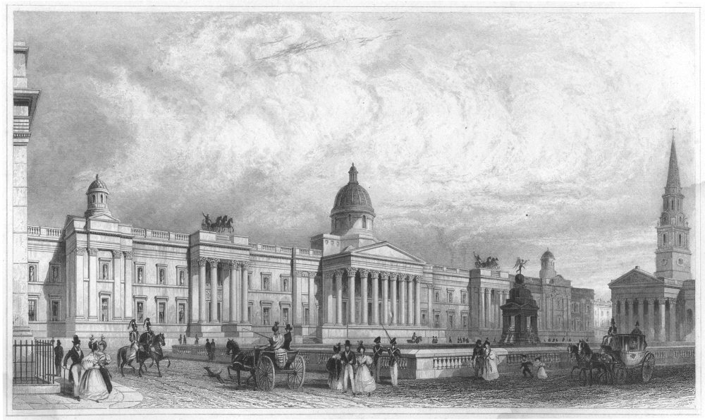 Grabado de la National Gallery de Londres hacia 1835.