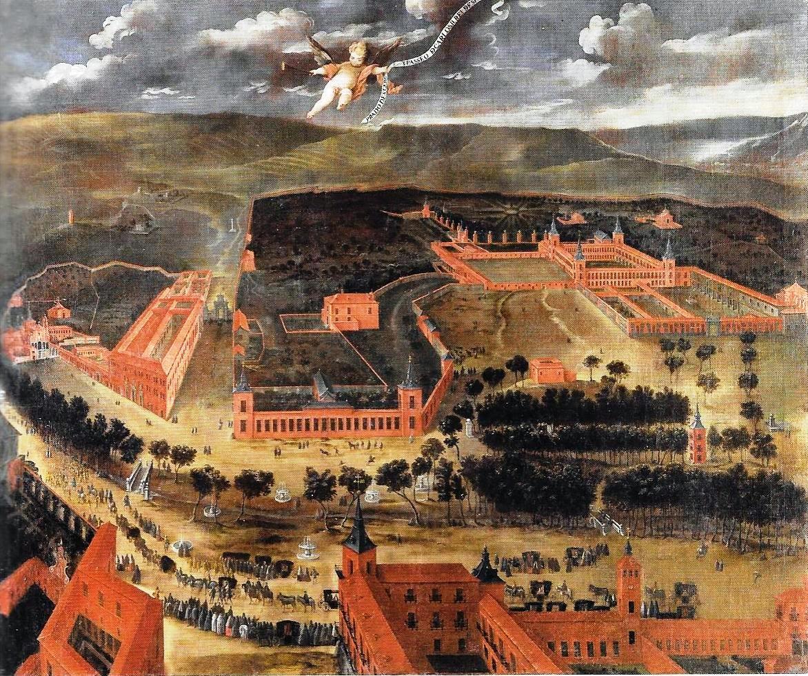 """Anónimo madrileño: Palacio del Buen Retiro, ca. 1670. Inscripción: """"PRADO DE S. GEROº Y PASEO D CARLOS II REI DE SPA..."""" (en la filacteria). Colección Abelló."""