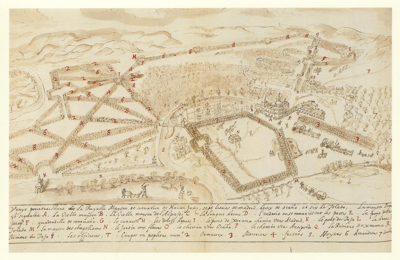 Jean L'Hermitte: Vista de Aranjuez, siglo XVI. Biblioteca Real de Bruselas.
