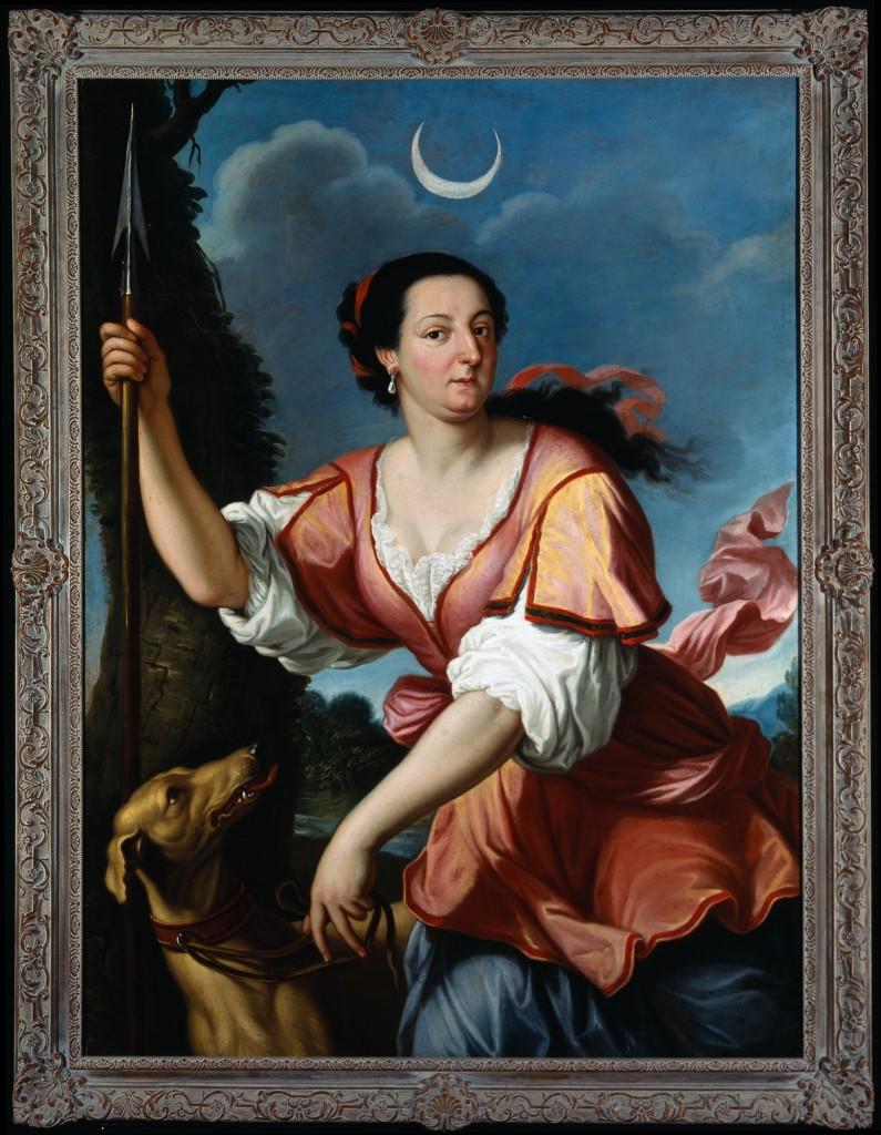 Domenico Cerrni, basado en una obra del Guercino: La reina Cristina de Suecia como Diana, ca. 1660.