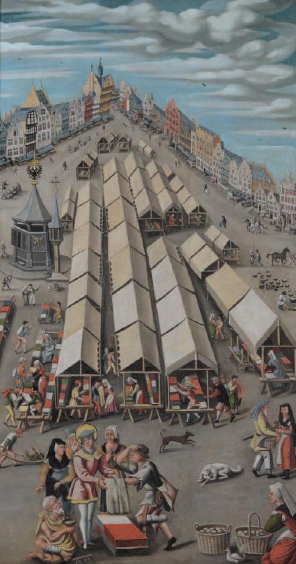 Anónimo flamenco: Mercado de telas en 's-Hertogenbosch, ca. 1530. Het Noordbrabants Museum.