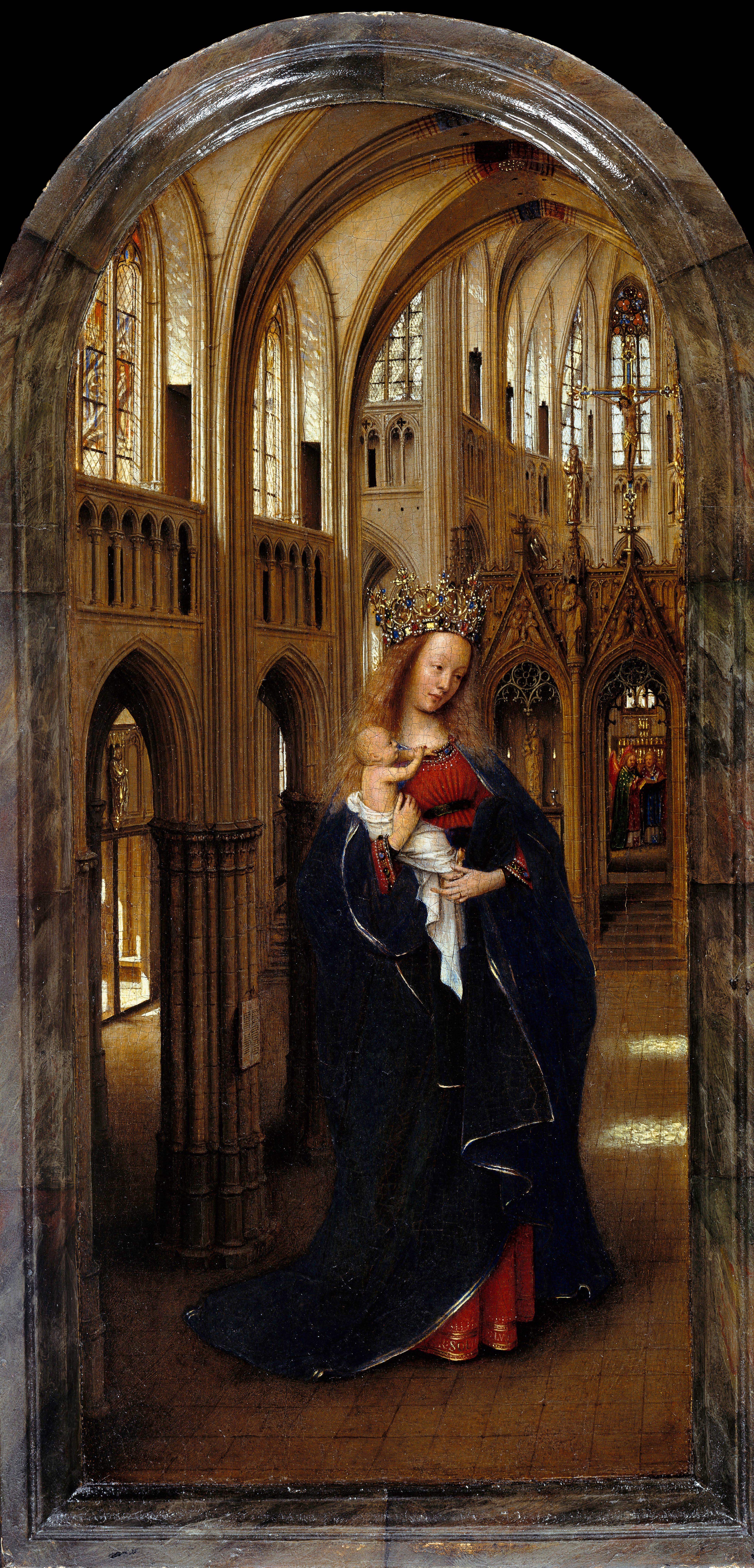 Jan Van Eyck: La Virgen en una iglesia. Gemäldegalerie, Berlín.