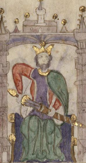 """Retrato de Sancho II de Castilla en el """"Compendio de crónicas de reyes del Antiguo Testamento..."""". Biblioteca Nacional de España."""