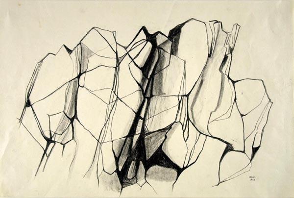 Anna-Eva Bergman: Fragmento de una isla en Noruega, 1951, 36 X 54 cm, Mina de plomo sobre papel. Foto: Fundación Hartung Bergman.