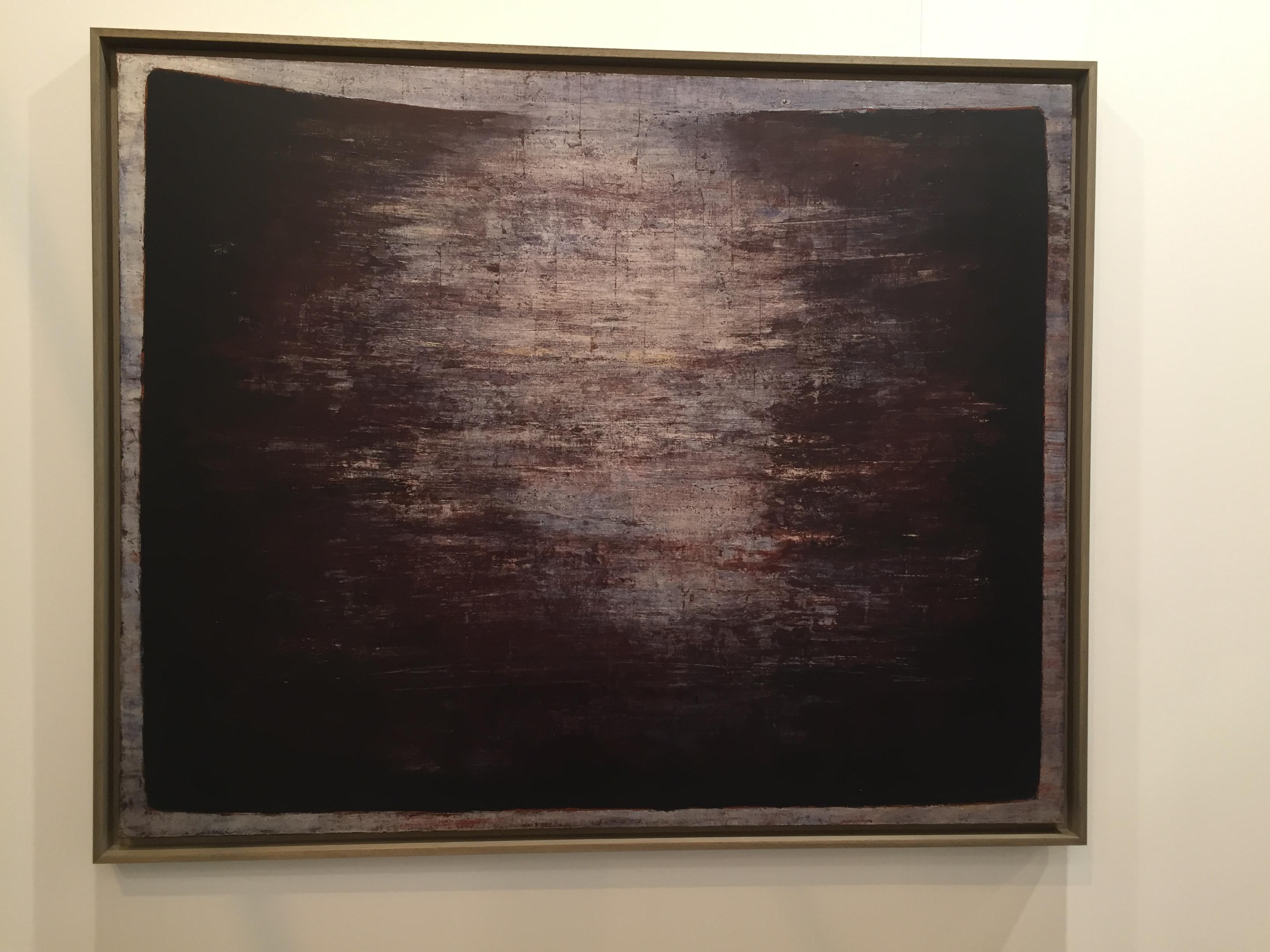 Anna-Eva Bergman: Nº 14-1960 - Desgarro sobre la tierra, 130 x 162 cm, témpera y láminas de metal sobre lienzo. Galerie Jerome Poggi. Foto: Investigart.